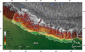 Nepal topography. The green/yellow zones hold ...
