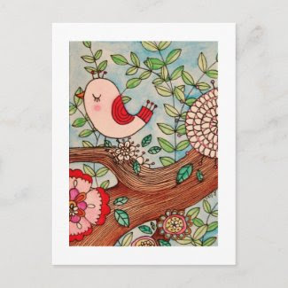 Retro bird, branch, and flowers postcard
