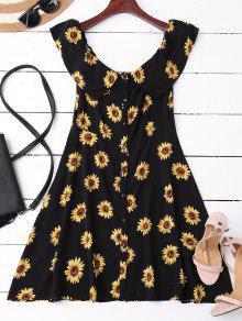 Off Shoulder Button Up Sunflower Dress - Black M