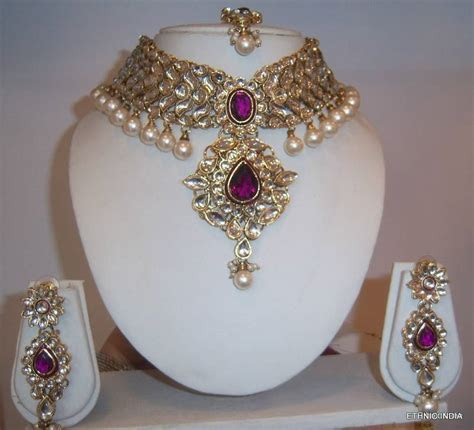 Purple White Kundan Pearl CHOKER GOLD NECKLACE EARRING