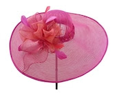 "Kentucky Derby Hat, Spring Fashion Race Day Hat, Garden and Tea Party Hat in Fuchsia Pink and Tangerine Orange is - ""Bowdacious"""