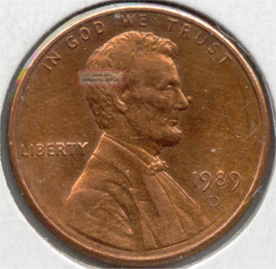 Usa 1989 D American 1 Cent Coin Lincoln Memorial Penny ...