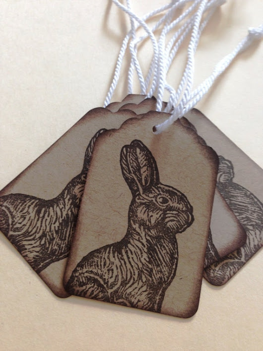 SALE SALE SALE Set of Six (6)  Gift Hang Tags - Chocolate Bunny Easter Tags -  Kraft Cardstock  with Permanent Ink - Free Shipping