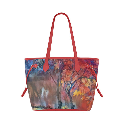 Bright art, autumn trees at the river, red-blue Clover Canvas Tote Bag (Model 1661)