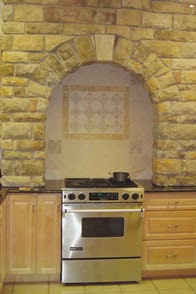 Keen Inspirations Faux Stone Arch and Stove Back Splash