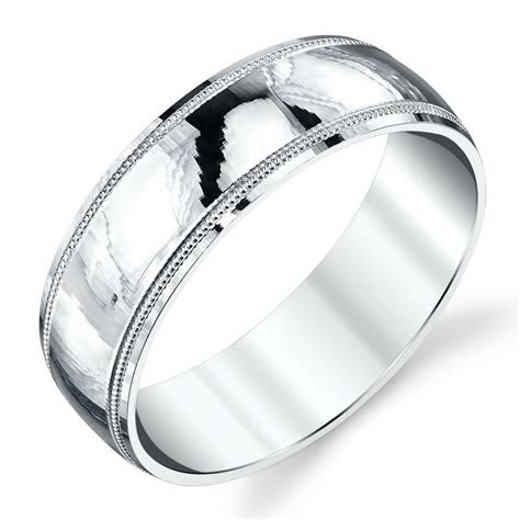 sterling silver mens wedding band ring milgrain