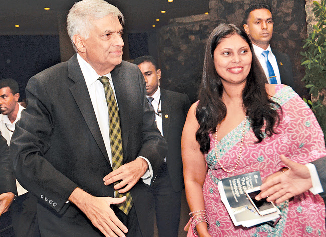 Prime Minister Ranil Wickremesinghe who was the Chief Guest at the CIMA Business Leaders Summit 2017 held at the Cinnamon Grand yesterday being welcomed by Chairperson of CIMA Business Leaders Summit 2017 Manohari Abeysekera. Picture by Wimal Karunathilake