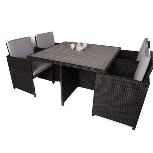Buy 4 Seater Rattan Cube Garden Table and Chair Set With ...