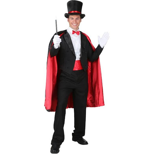 adult magic magician costume mens size small black