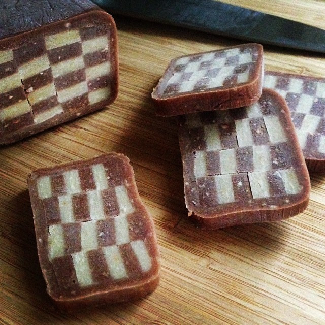hazelnut checkerboards #icebox #cookies #christmascookies