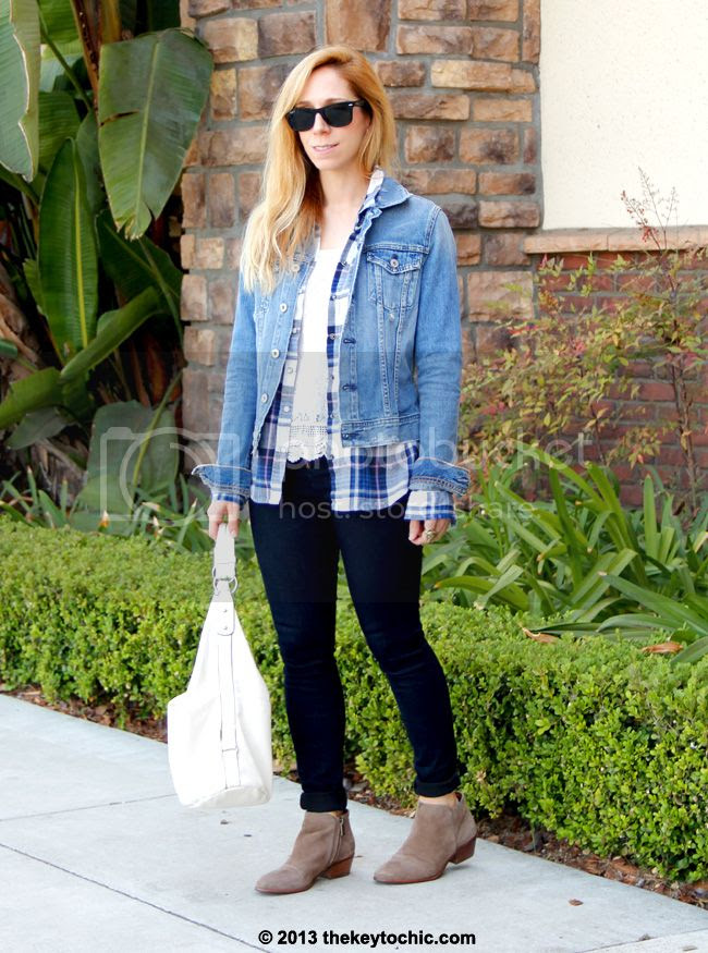 how to wear denim on denim, AG Jeans jacket, flannel shirt, Charlotte Russe skinny jeans, Sam Edelman Petty boots