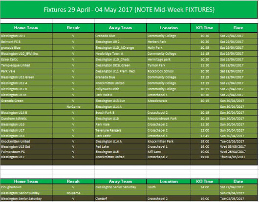BFC Fixtures for 29th April – 4th May (including midweek)