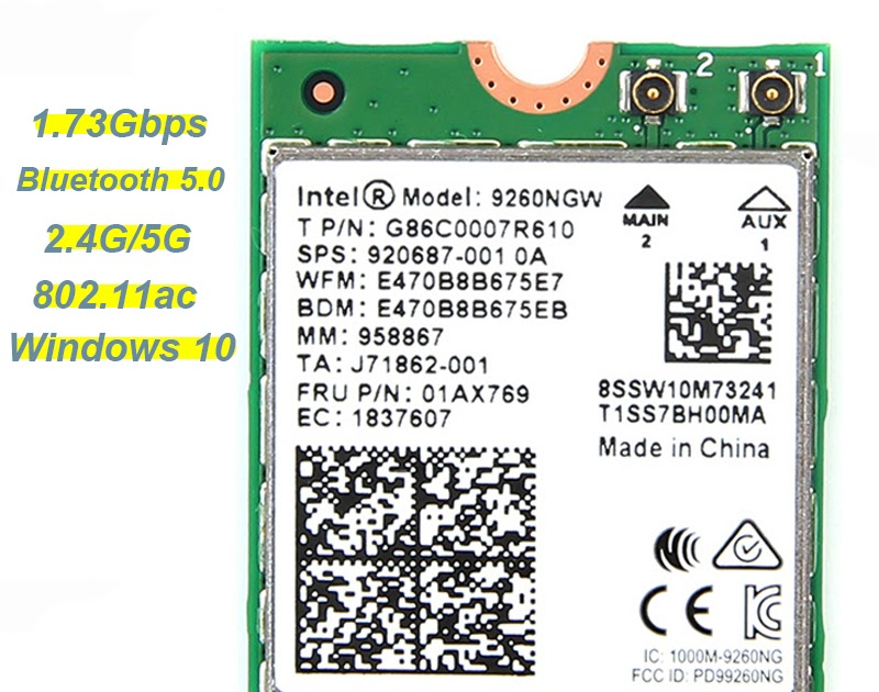 Dual Band Intel 9260NGW 1730Mbps 802.11ac BT5.0 NGFFM2 Laptop Wireless Wifi Card