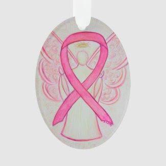Pink Awareness Ribbon Angel Ornament Pendant