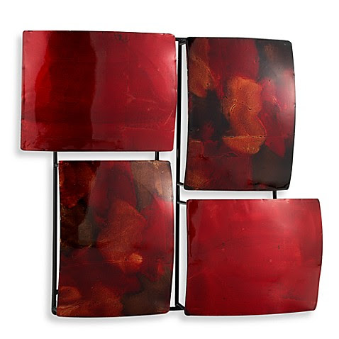 Red 4-Rectangle Metal Wall Art - Bed Bath & Beyond