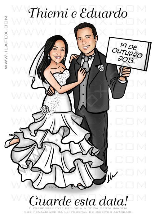 caricatura noivos, caricatura casal, caricatura elegante, caricatura sem exagerados, save the date, caricatura bonita, by ila fox