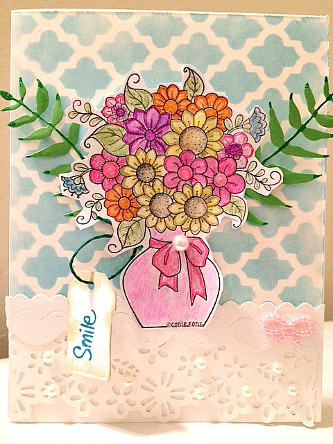 Flowers in a Vase Summer Card | Paper Craft Happy
