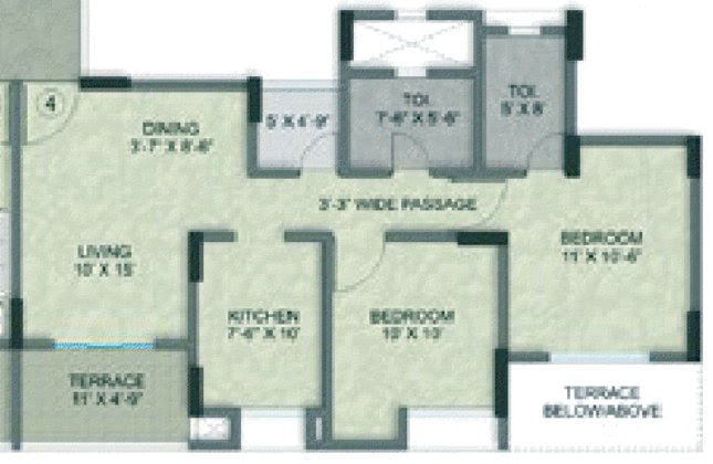 Kalpataru Serenity at Manjri Pune 412 307 - Building 4: Wing A & B - Building 1: Wing B & C Odd Floor - 2 BHK Flats - 707 Carpet = 920 Saleable - 720 Carpet = 946 Saleable - 1st to 4th Floor - Rs. 39.04 / 39.99 Lakhs