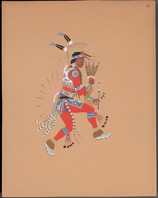 illustration of native American in traditional costume with flute