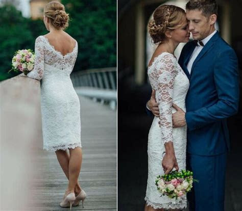 short wedding dresses knee length simple white ivory