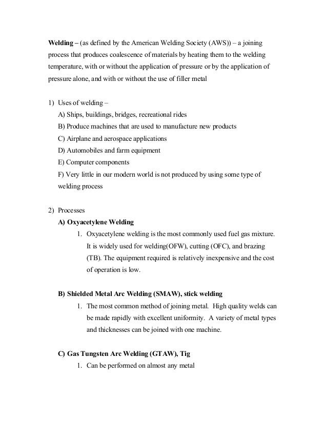 Notes on Shielded Metal-arc Welding (SMAW) arc welding process notes