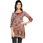 Veesha Red 3/4 Sleeve Indian Printed Kurti Tunic Women Kurta