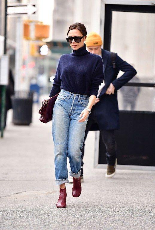 Le Fashion Blog Victoria Beckham Casual Chic Oversized Sunglasses Blue Turtleneck Sweater Light Wash Jeans Low Ankle Boots Via Vogue