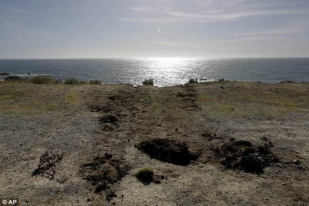 Les traces s'éloignent du bord de la falaise le mercredi 28 mars 2018, lorsque le VUS de Jennifer et Sarah Hart a quitté la côte de la côte du Pacifique