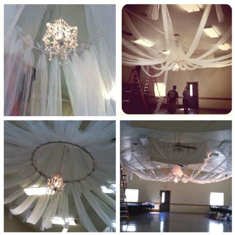 DIY ceiling decor. All you need is tulle, PVC in hula hoop