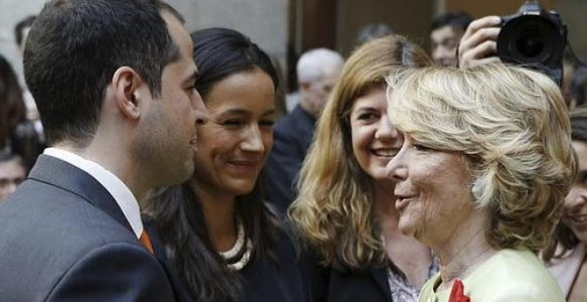 Esperanza Aguirre, junto a Begoña Villacís e Ignacio Aguado en una imagen de archivo. EFE