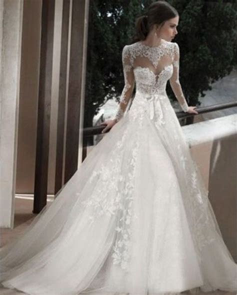 sheer lace applique wedding dresses bridal gowns