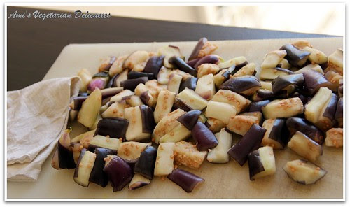 Wash soaked eggplant and pat dry with a kitchen towel