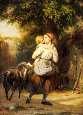 a mother and a child with a goat on a path