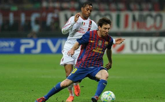 Lionel Messi and Robinho - Ac Milan-Barcelona (Getty Images)