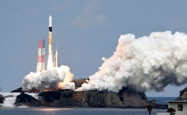 An H-IIA rocket carrying the Hayabusa 2 spacecraft is launched from Tanegashima Space Center in Japan on December 3, 2014 (Japan time).