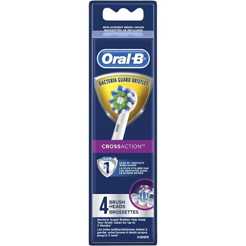 Oral-B CrossAction EB50-4 - Toothbrush Replacement brush head for Pro 1000 CrossAction, 1700 CrossAction, and more