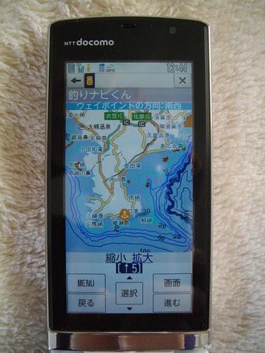 携帯画面で見る海底ソナー画像(三浦半島、釣りポイント、サバ根)1