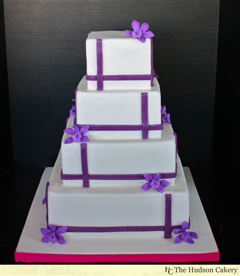 Square Orchid Wedding Cake   The Hudson Cakery