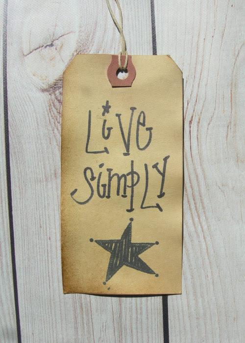 Hang Tag vivre simplement ferme rustique Grange étoiles étiquette-cadeau crafs primitive définie 25 tags