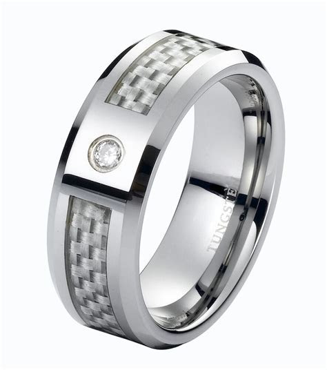 Real Diamond Wedding Band Ring Tungsten Carbide 8mm Modern