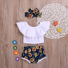 PatPat White Toddler Sets 9-12 mo Unisex Polyester - 3-Piece Baby / Toddler Flounced Collar Top and Sunflower Shorts with Headband Set