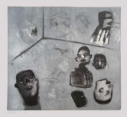 """لوحة بعنوان """"غرفة بملايين الجدران"""" للفنان صافي. المصدر: خاص حكاية ما انحكت"""