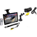 "Pyle PLCM7500 7"" Window Suction-Mount LCD Monitor & License Mount Backup Camera"