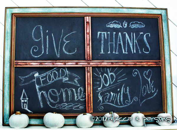Thanksgiving Blessings Chalk Board in place #Gluenglitter