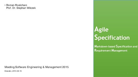 Agile specification in agile projects