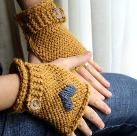 Rightie or Leftie Handwarmers - Fingerless Mitts  -  Mustard Yellow
