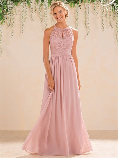 Jasmine B183016 High Neck Chiffon A line Bridesmaid Dress