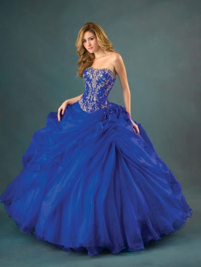 Blue Organza Strapless Ball Gown Gothic Wedding Dress