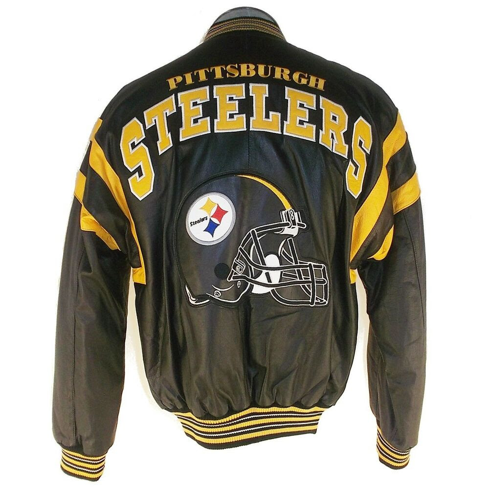 NFL STEELERS PITTSBURGH LEATHER BOMBER JACKET L32540  eBay