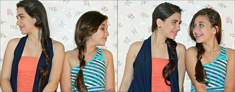 juliana leite penteado grampos coloridos  trança use yasmin cristina espinha de peixe elásticos make up hair style1